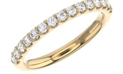 Earth Star Diamonds FR01314 Claw Set Round Brilliant Cut Half Eternity Wedding Ring in Yellow Gold