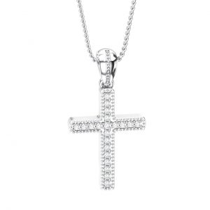 Pave Set Round Brilliant Cut Diamonds Cross Pendant