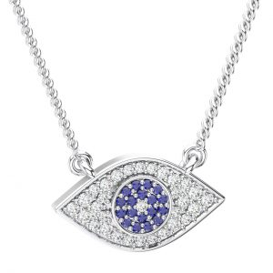 Pave Set White Gold in Round Brilliant Cut Diamond Eye Pendant