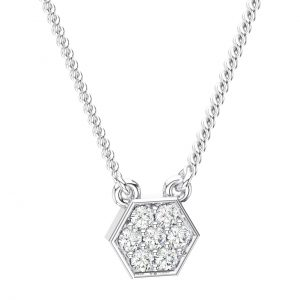 Pave Set White Gold in Round Brilliant Cut Diamond Necklace