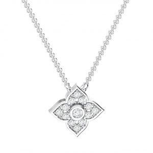Pave Set White Gold in Round Brilliant Cut Diamond Necklace