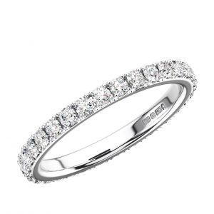 Pave Set Round Brilliant Cut Diamonds Full Eternity Ring
