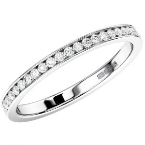 Channel Set Round Diamonds Half Eternity Ring