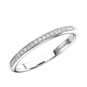 Pave Set Round Brilliant Cut Diamonds Half Eternity Ring
