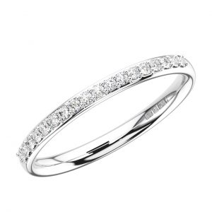 ERH0599-2-40-White Gold Pave Set Round Brilliant Cut Diamonds Half Eternity Ring