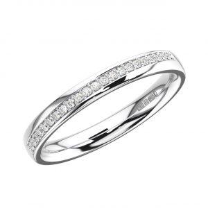 Pave Set Round Brilliant Cut Diamonds Half Eternity Ring