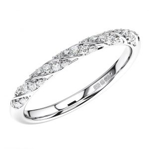 Twisted Pave Set Round Diamonds Half Eternity Ring