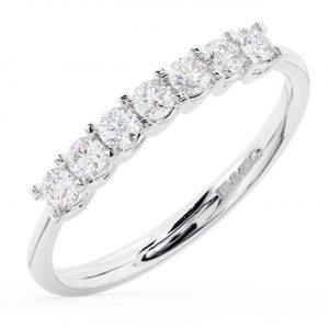 Claw Set Round Brilliant Cut Diamonds Half Eternity Ring