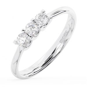 Claw Set Round Brilliant Cut Diamonds Three Stone Half Eternity Ring