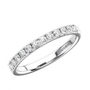 Prong Set Round Brilliant Cut Diamonds Half Eternity Ring 2