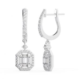 PAVE SET ROUND AND BAGUETTE CUT DIAMOND WHITE GOLD HOOP EARRING