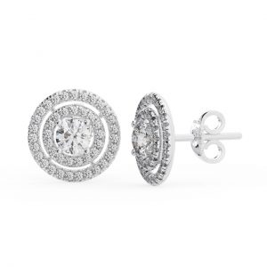 PAVE SET ROUND BRILLIANT CUT DIAMONDS WHITE GOLD DOUBLE HALO EARRING