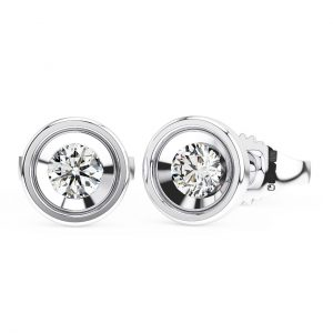 BEZEL SET ROUND BRILLIANT CUT DIAMONDS WHITE GOLD STUD EARRING