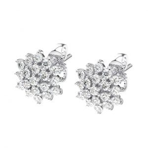CLAW SET ROUND BRILLIANT CUT DIAMOND WHITE GOLD FLOWER EARRING