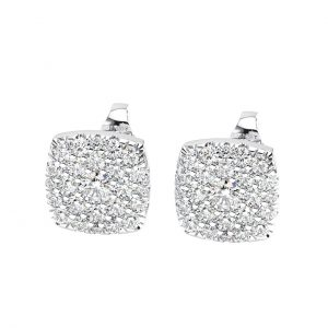 CLUSTER SET ROUND BRILLIANT CUT DIAMONDS WHITE GOLD STUD EARRING