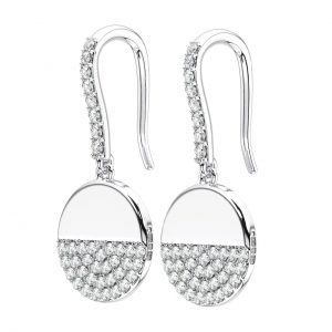 PAVE SET WHITE GOLD ROUND BRILLIANT CUT DIAMOND HOOPS EARRING