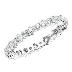 CLAW SET ROUND BRILLIANT CUT DIAMONDS WHITE GOLD FULL ETERNITY RING
