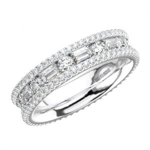 CHANNEL SET ROUND AND BAGUETTE CUT DIAMONDS WHITE GOLD FULL ETERNITY RING