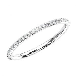 MICRO PAVE SET ROUND BRILLIANT CUT DIAMONDS WHITE GOLD FULL ETERNITY RING