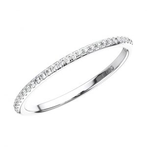 MICRO PAVE SET ROUND BRILLIANT CUT DIAMONDS WHITE GOLD HALF ETERNITY RING