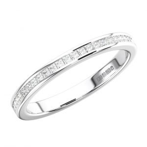 CHANNEL SET PRINCESS CUT DIAMONDS WHITE GOLD HALF ETERNITY RING