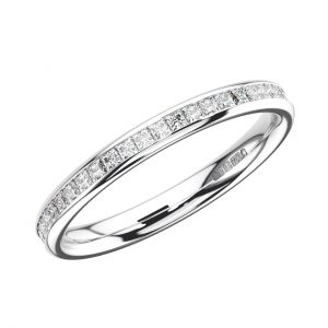 CHANNEL SET PRINCESS CUT DIAMONDS WHITE GOLD FULL ETERNITY RING