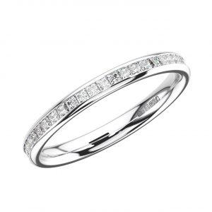 CHANNEL SET PRINCESS CUT DIAMONDS WHITE GOLD FULL ETERNITY RING