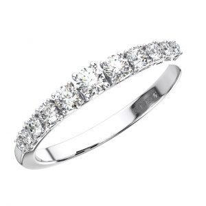 Half Carat White Gold Claw Set Graduating Round Brilliant Cut Diamond Half Eternity Ring (3)
