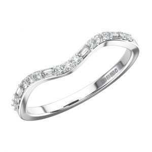 PRONG SET ROUND AND BAGUETTE CUT DIAMONDS WHITE GOLD WISHBONE SHAPE HALF ETERNITY RING