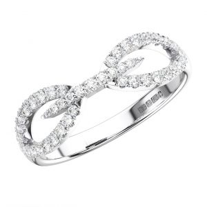 FISHTAIL SET ROUND BRILLIANT CUT DIAMONDS WHITE GOLD HALF ETERNITY RING