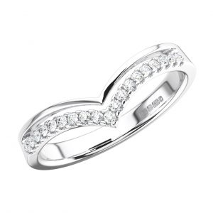 PAVE SET ROUND BRILLIANT CUT DIAMONDS WHITE GOLD WISHBONE SHAPE HALF ETERNITY RING