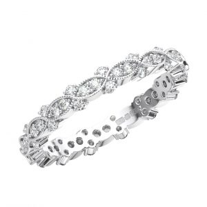 PAVE SET ROUND BRILLIANT CUT DIAMONDS WHITE GOLD FULL ETERNITY RING
