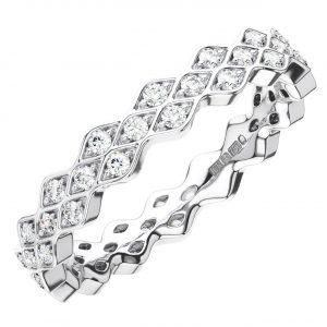 PAVE SET ROUND BRILLIANT CUT DIAMONDS WHITE GOLD FULL ETERNITY RING