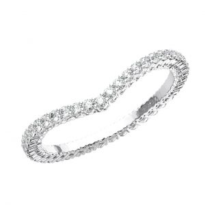 CLAW SET ROUND BRILLIANT CUT DIAMONDS WHITE GOLD WISHBONE SHAPE FULL ETERNITY RING