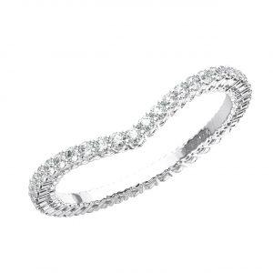 CLAW SET ROUND BRILLIANT CUT DIAMONDS WHITE GOLD WISHBONE SHAPE FULL ETERNITY RING