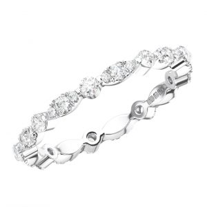 BAR SET ROUND BRILLIANT CUT DIAMONDS WHITE GOLD FULL ETERNITY RING