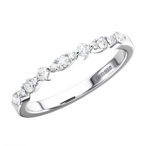 BAR SET ROUND BRILLIANT CUT DIAMONDS WHITE GOLD HALF ETERNITY RING