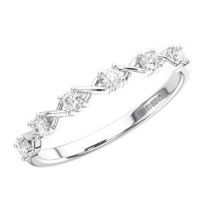 CLAW SET ROUND BRILLIANT CUT DIAMONDS WHITE GOLD HALF ETERNITY RING