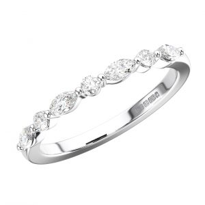 SURFACE PRONG SET ROUND AND MARQUISE CUT DIAMONDS WHITE GOLD HALF ETERNITY RING
