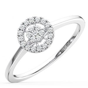 ROUND BRILLIANT CUT DIAMONDS WHITE GOLD HALO ENGAGEMENT RING
