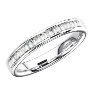 CHANNEL SET BAGUETTE CUT DIAMONDS WHITE GOLD HALF ETERNITY RING