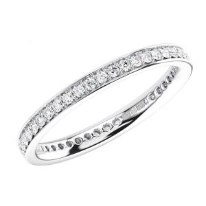 PAVE SET ROUND BRILLIANT CUT DIAMONDS WHITE GOLD FULL ETERNITY RING (1)
