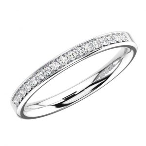 PAVE SET ROUND BRILLIANT CUT DIAMONDS WHITE GOLD HALF ETERNITY RING
