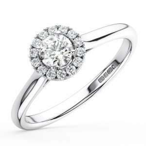 CLAW SET ROUND BRILLIANT CUT DIAMONDS WHITE GOLD HALO ENGAGEMENT RING