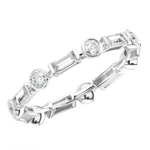 BEZEL SET ROUND AND BAGUETTE CUT DIAMONDS WHITE GOLD FULL ETERNITY RING