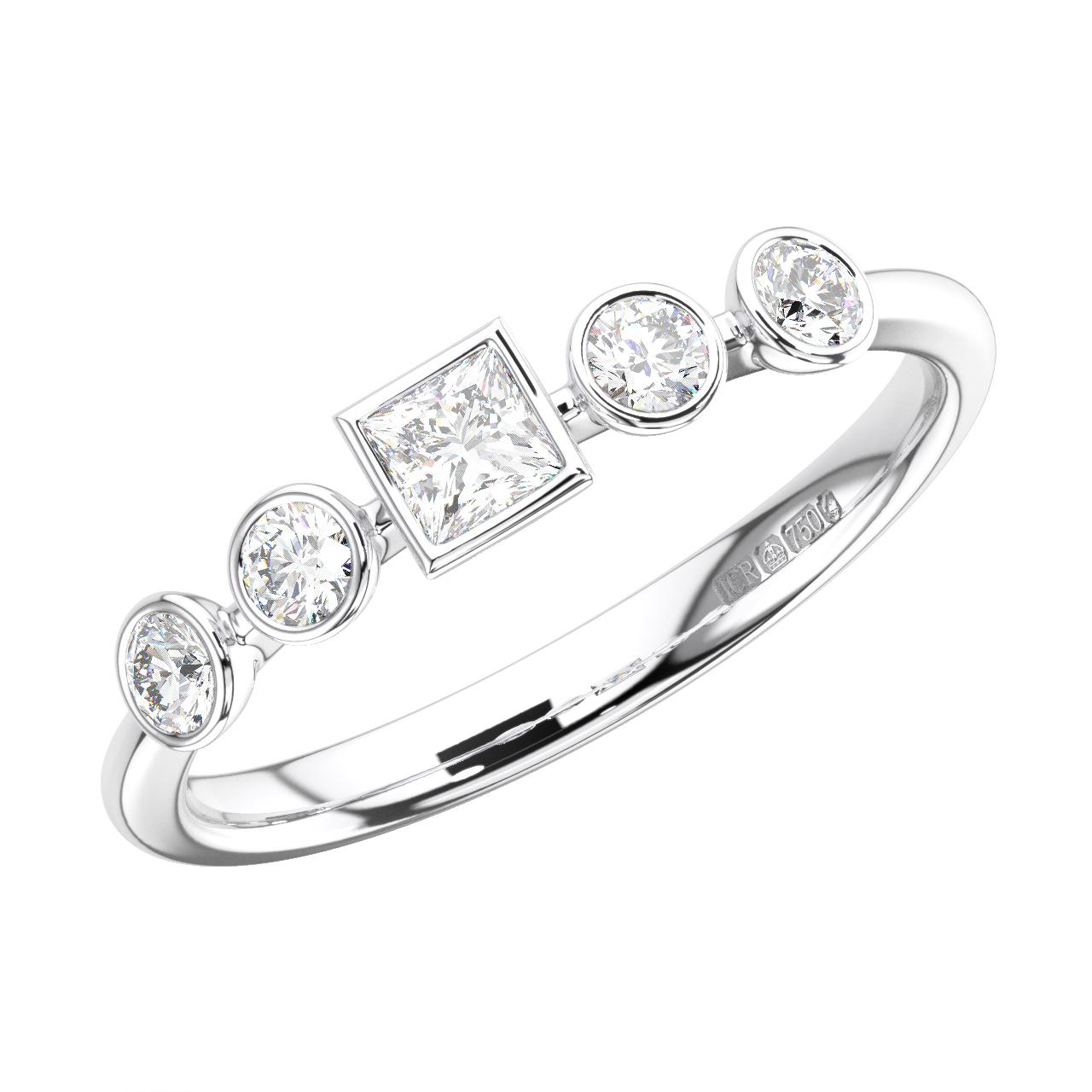 F//SI 0.15ct Princess Cut Diamond Half Eternity Wedding Ring White /& Yellow Gold