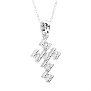 Bar Set Round Brilliant Cut Diamond White Gold Cross Pendant (5)