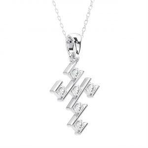 Bar Set Round Brilliant Cut Diamond White Gold Cross Pendant (5)