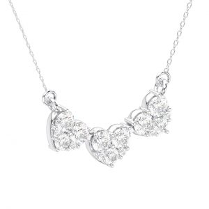 Pave Set Round Brilliant Cut Diamond White Gold Heart Shape Necklace (4)