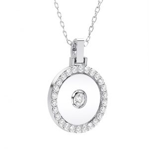 Bezel and Pave Set Round Brilliant Cut Diamond Circle Shaped Pendant in White Gold
